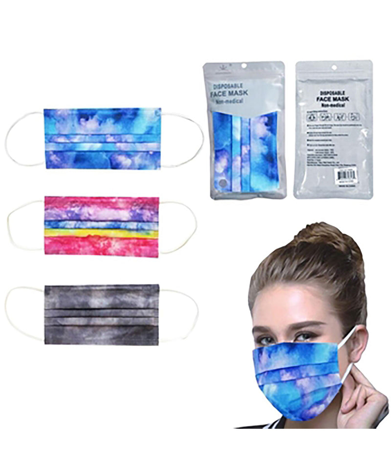 Confetti & Friends 10 Pack Disposable Masks Tie Dye