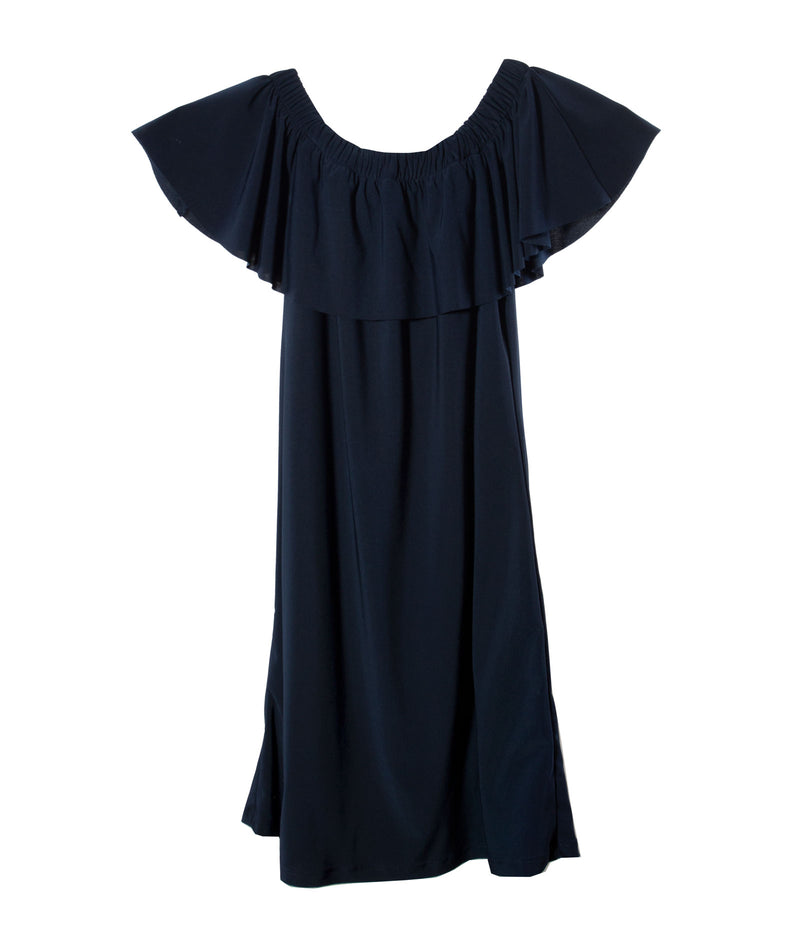 Un Deux Trois Girls Navy Off-Shoulder Dress