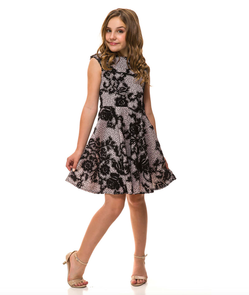 Un Deux Trois Girls Black & Pink Lace Dress