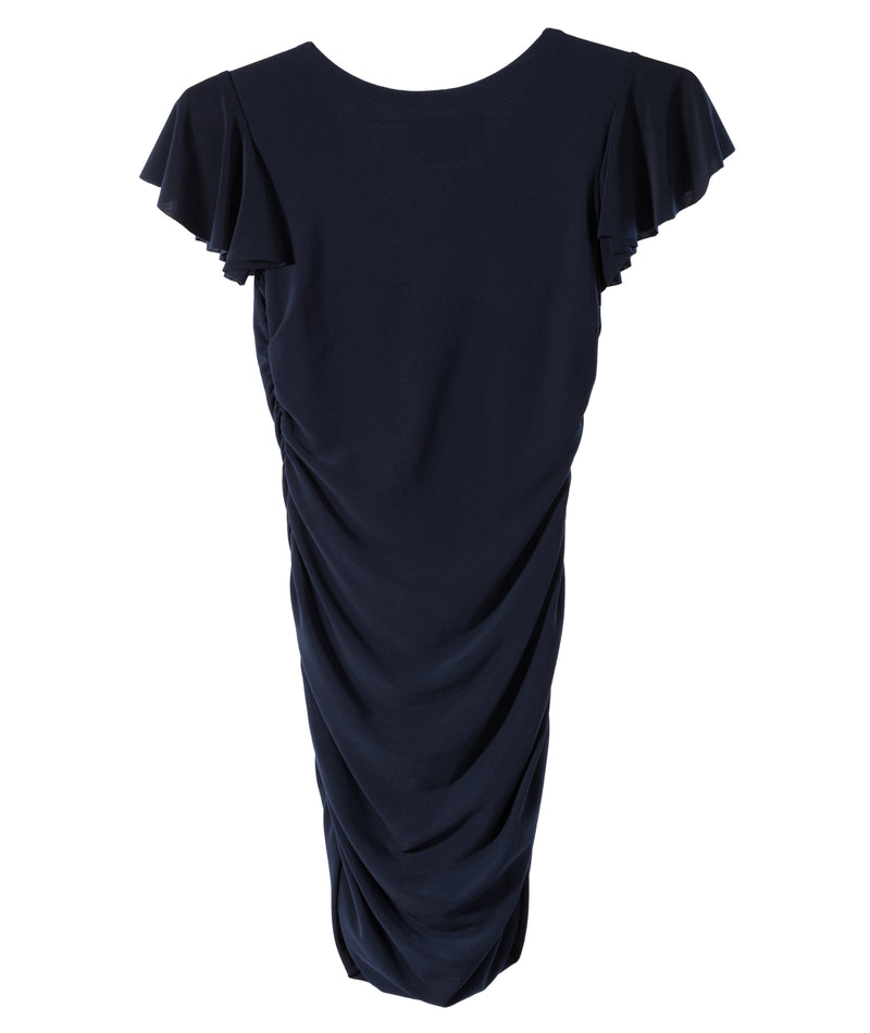 Un Deux Trois Girls Navy Flutter Ruche Dress