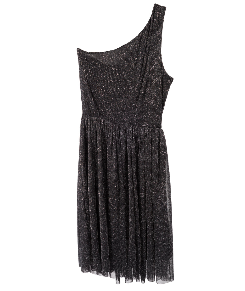 Un Deux Trois Girls Black Glitter One Shoulder Dress
