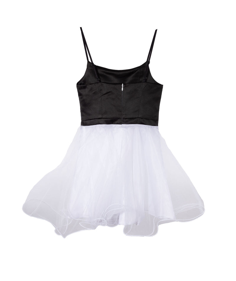 Un Deux Trois Girls Black and White Tulle Party Dress