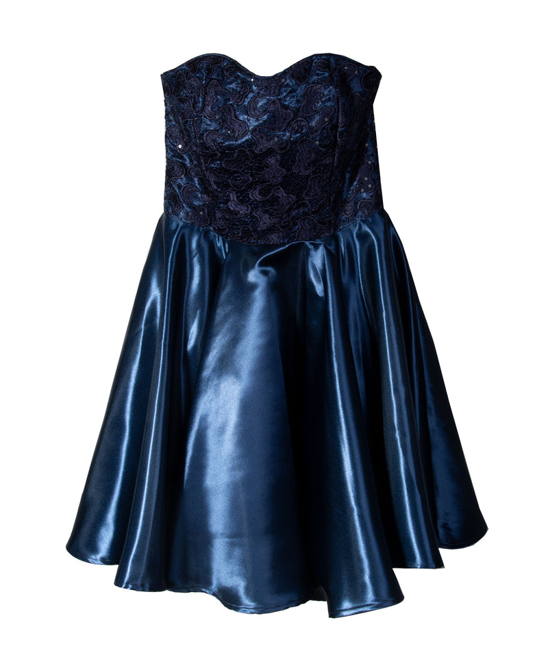 Un Deux Trois Navy Sequin With Satin Dress