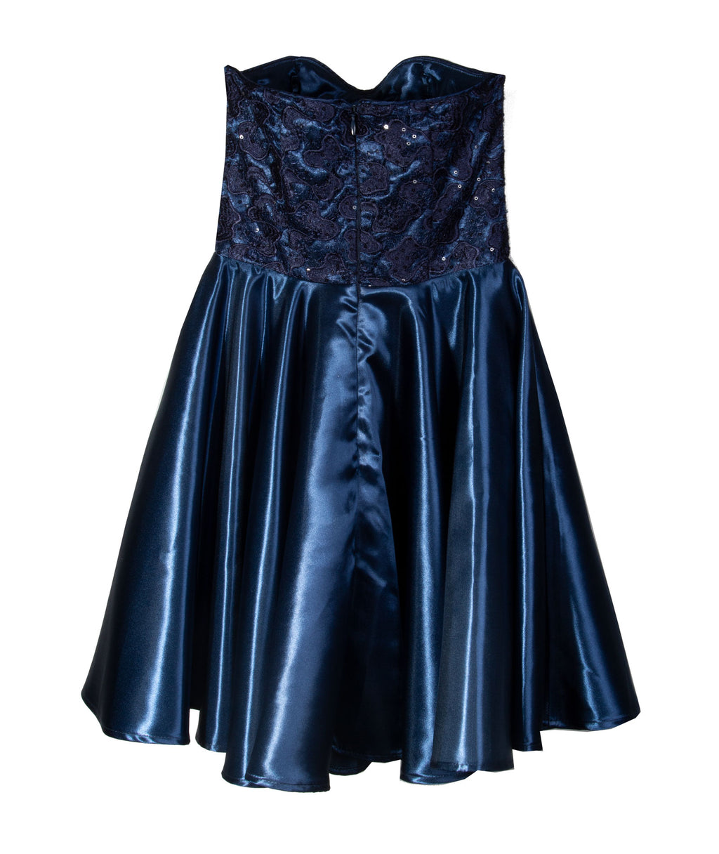Un Deux Trois Junior Navy Sequin With Satin Dress