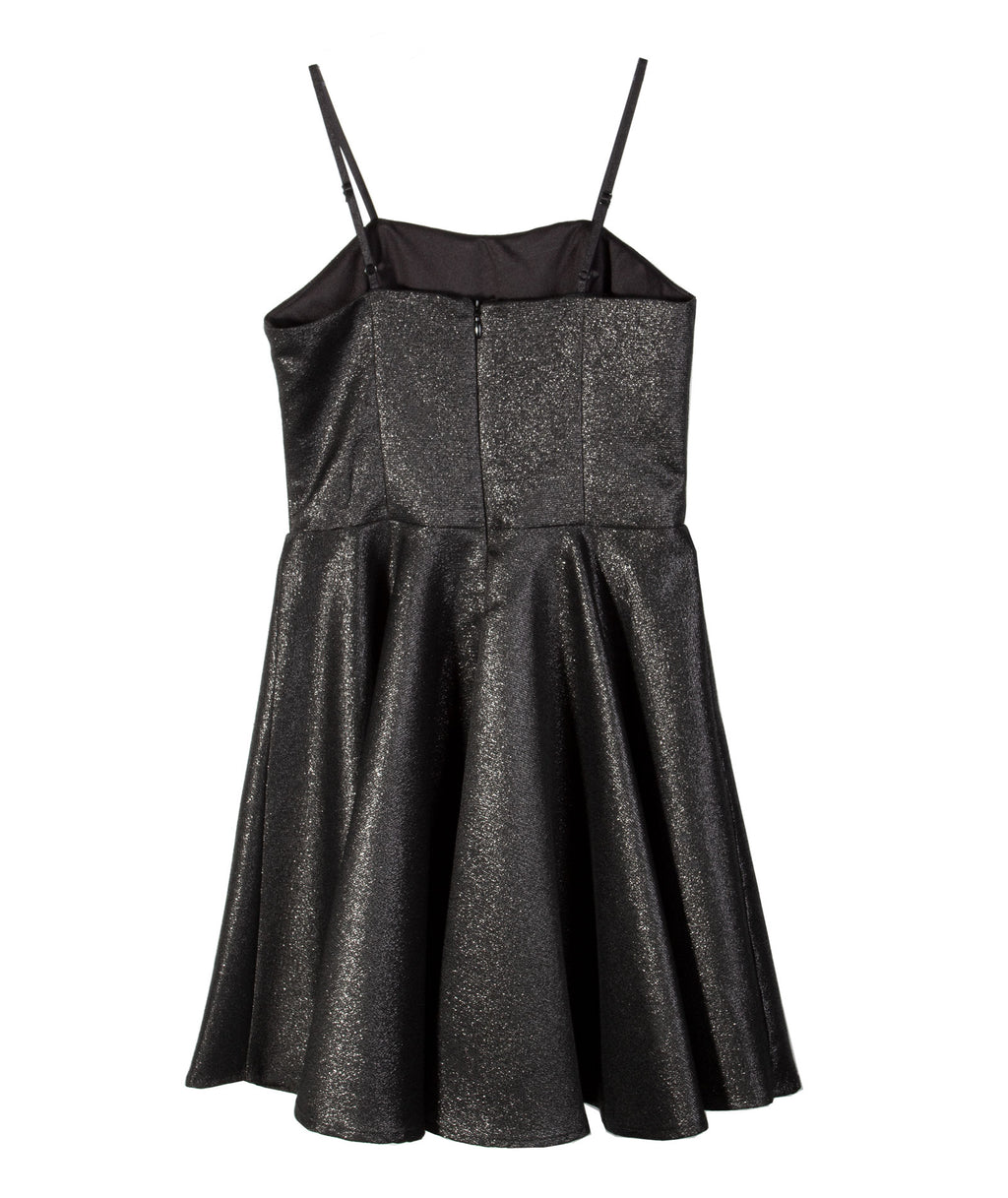 Un Deux Trois Girls Glitter Black Dress
