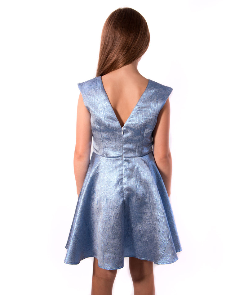 Un Deux Trois Cap Sleeve Ice Blue Dress