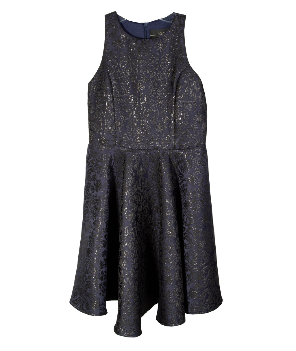 Un Deux Trois Girls Navy Jacquard Dress