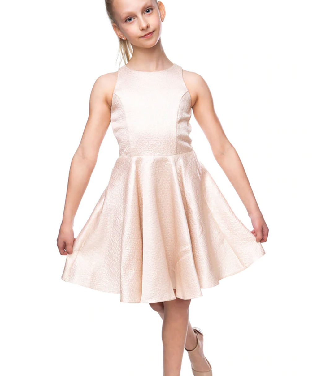 Un Deux Trois Girls Blush Jacquard Dress