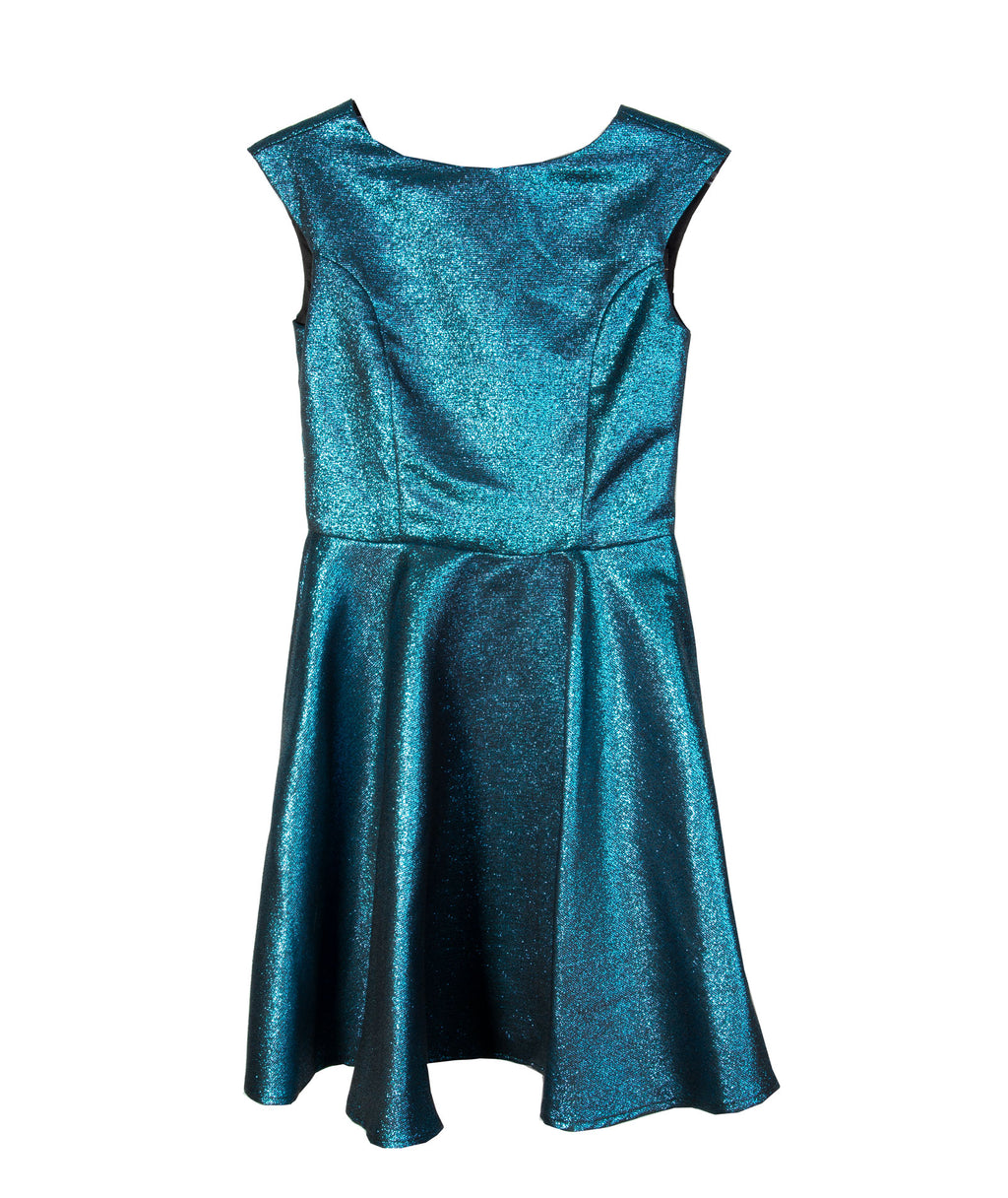 Un Deux Trois Girls Teal Glitter Dress