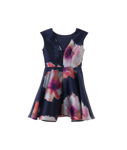 Un Deux Trois Girls Navy Floral Dress