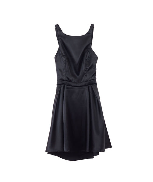 Un Deux Trois Juniors Satin Black Dress