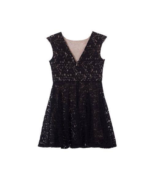 Un Deux Trois Girls Lace Black Party Dress