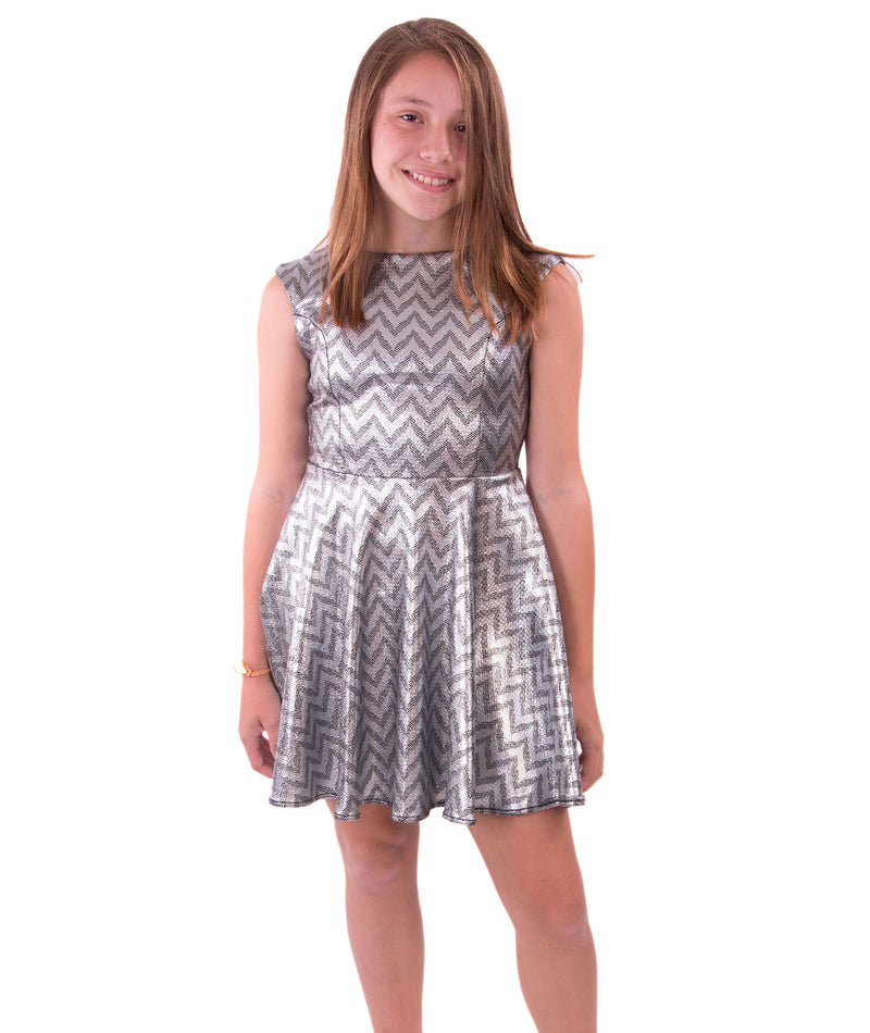 Un Deux Trois Girls Silver Chevron Dress - Frankie's on the Park