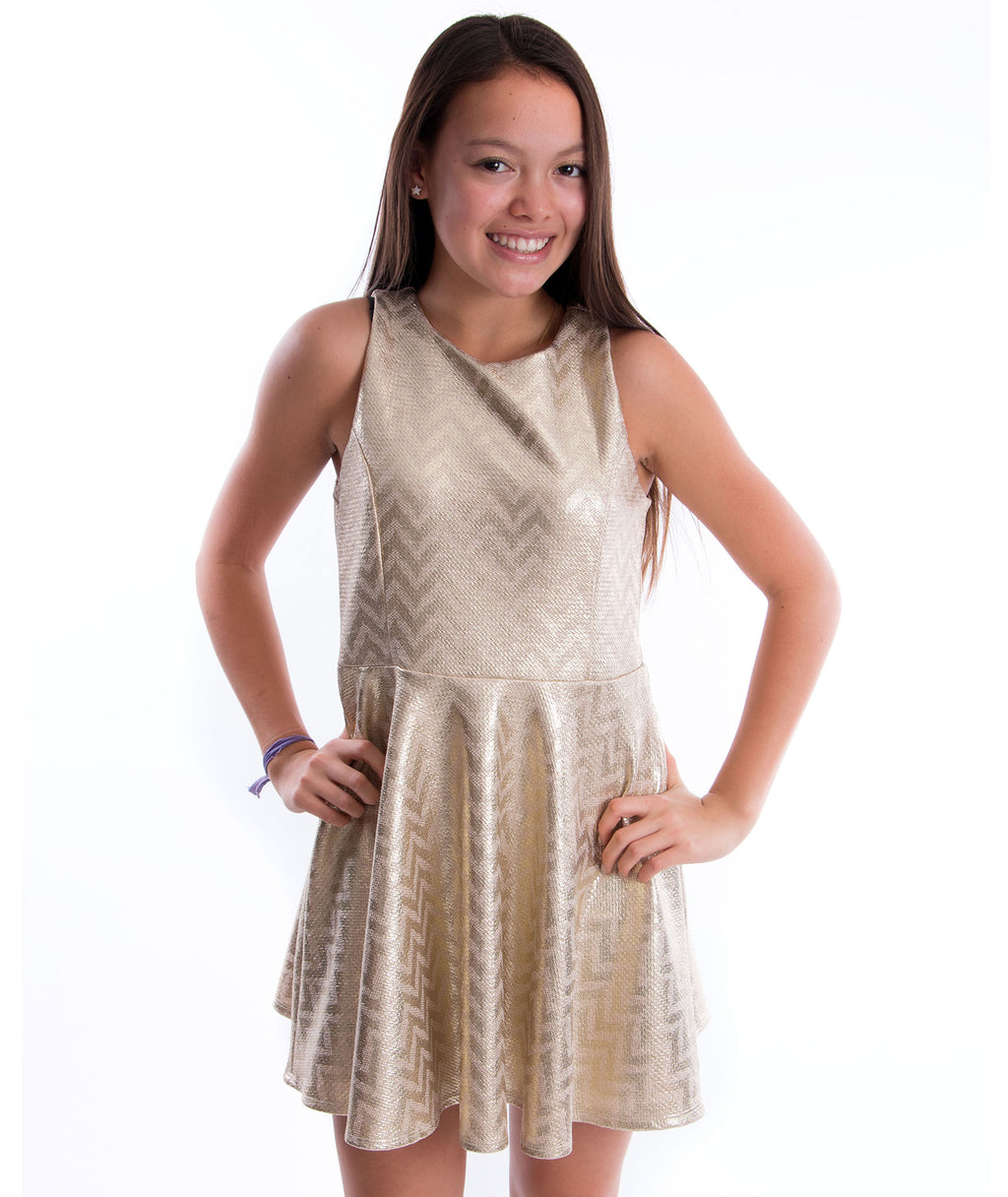 Un Deux Trois Gold Chevron Dress - Frankie's on the Park