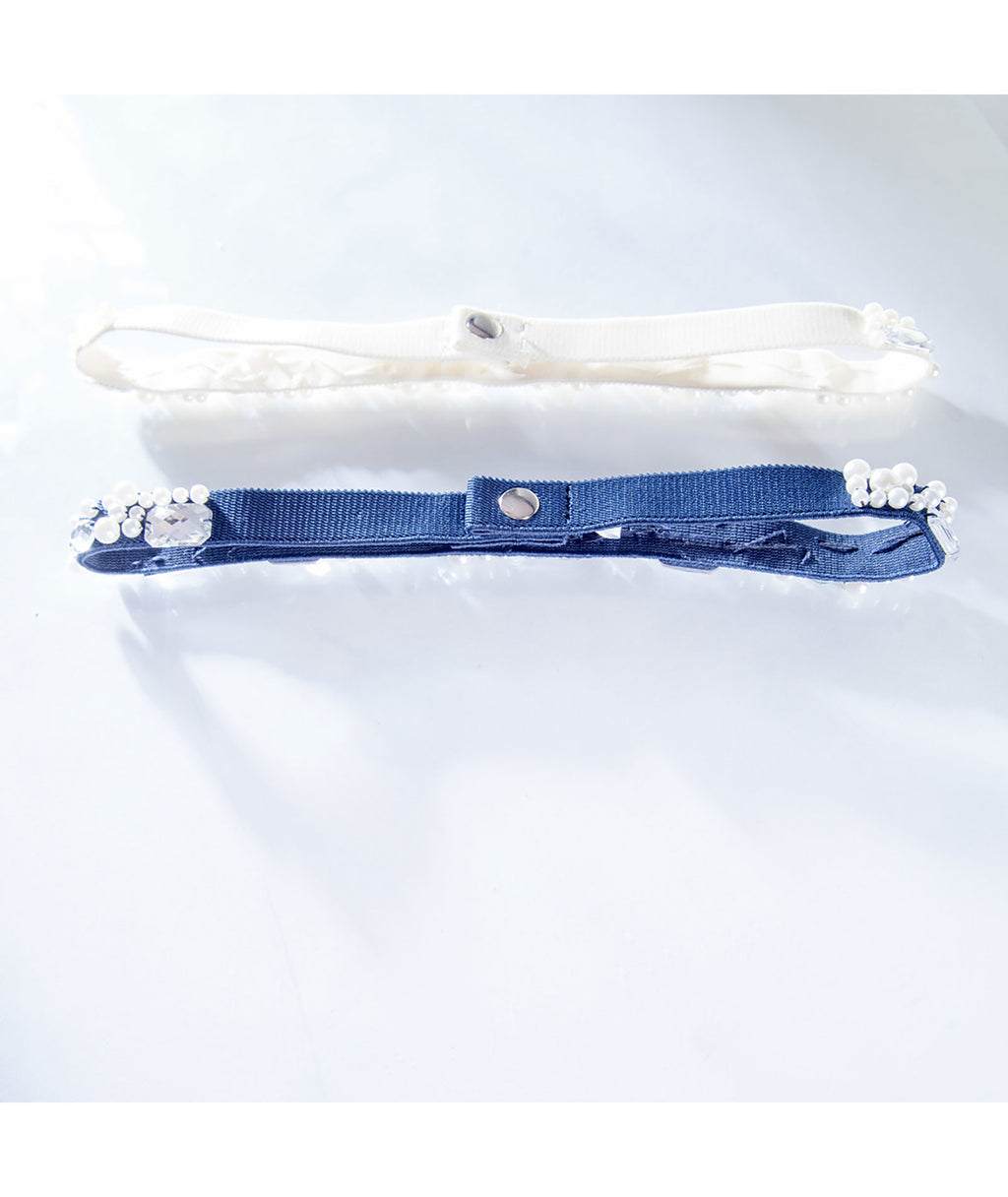 Un Deux Trois Girls Elastic Pearl and Gem Belts - Frankie's on the Park