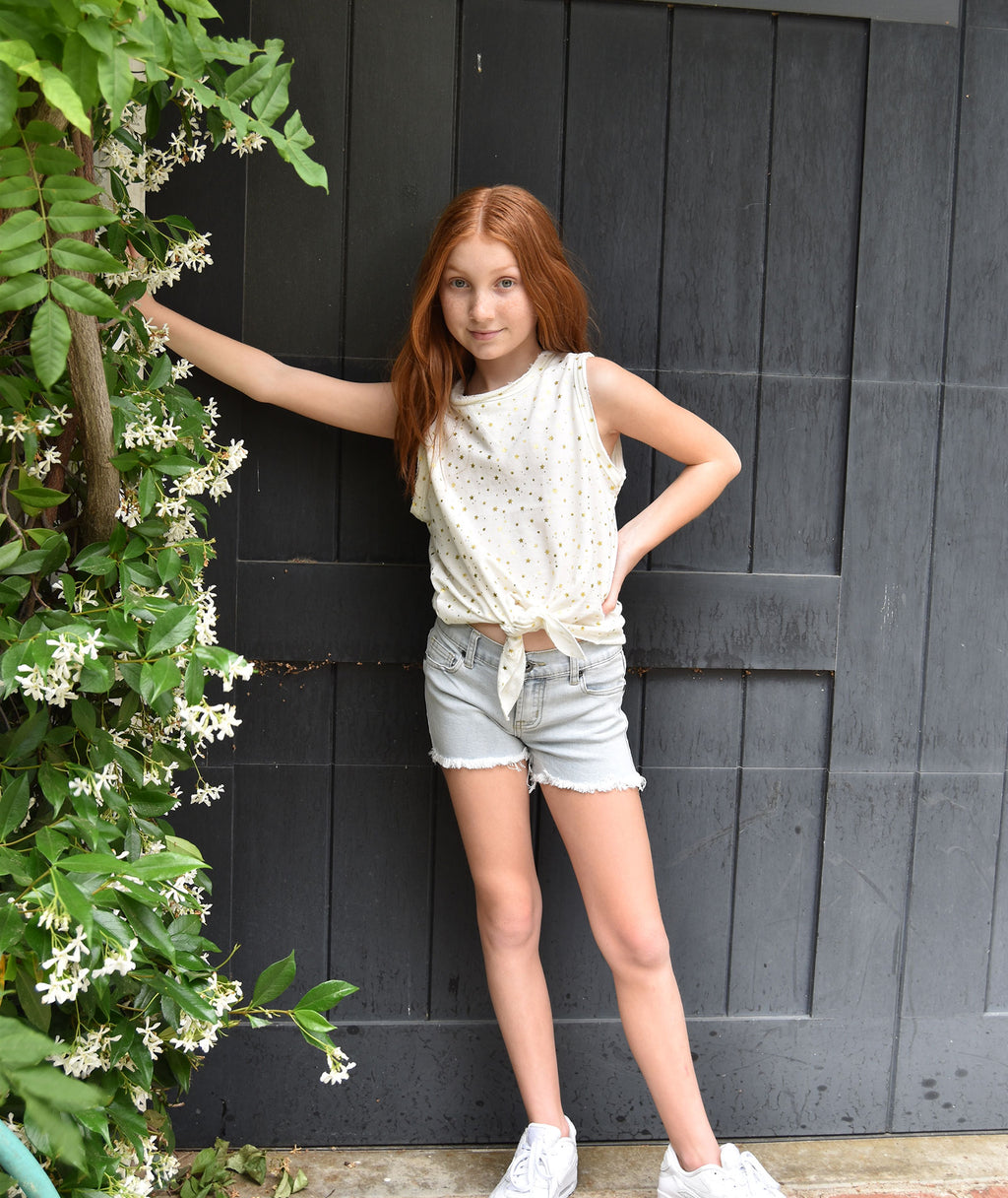 Vintage Havana Girls Light Wash Denim Shorts