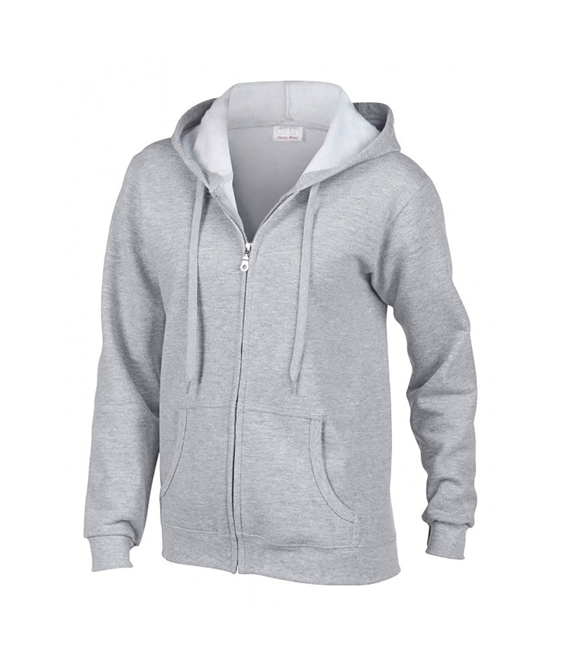Gildan Youth Zip Up Hoodie in White, Grey or Light Grey