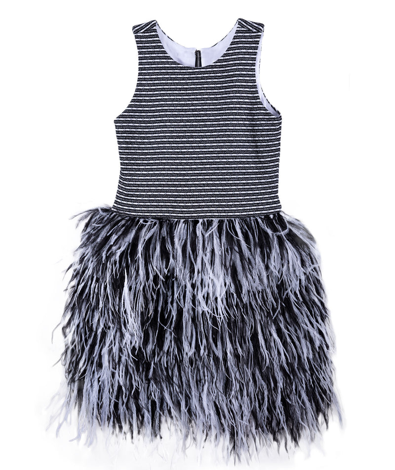 Zoe Ltd. Girls Black & White Tweed Feather Dress