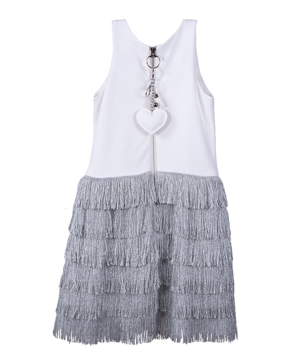 Zoe Ltd. Girls Ivory and Silver Fringe Halter Dress