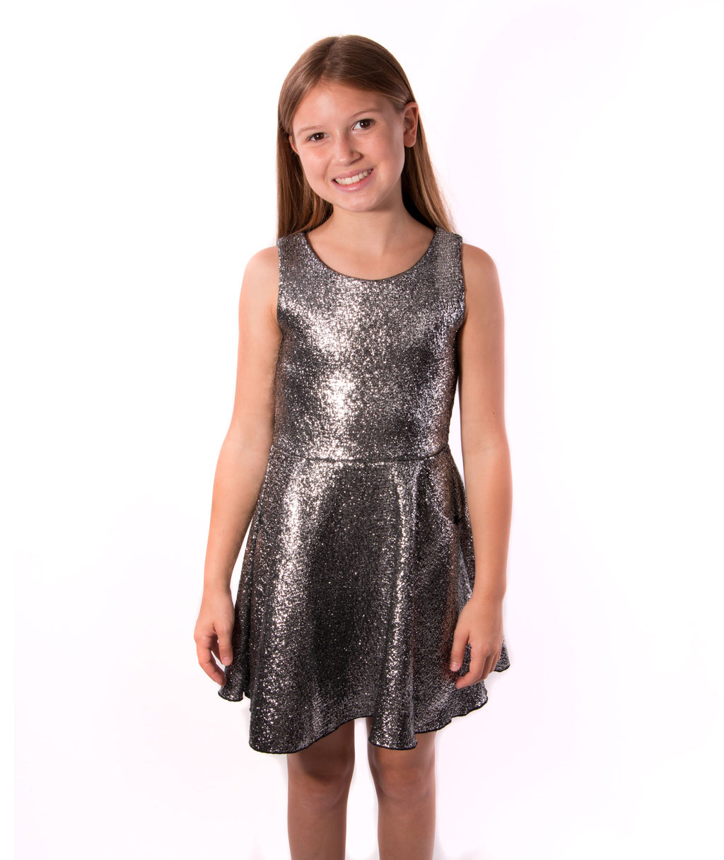 Zoe Ltd. Girls Metallic Fit and Flare Dress