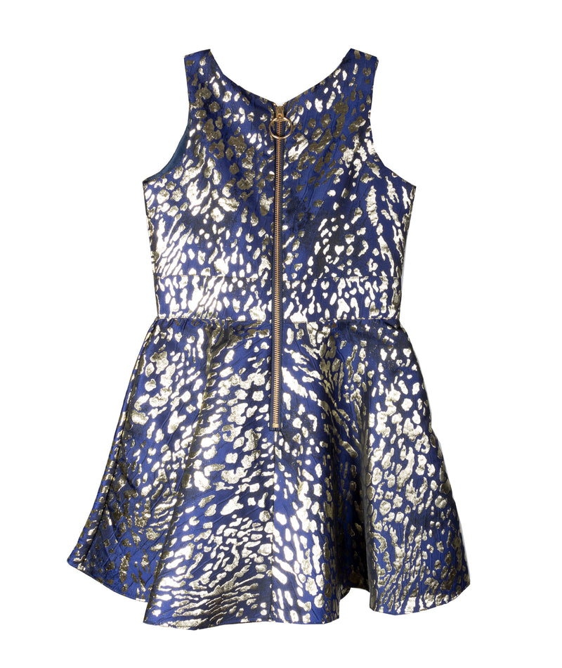 Zoe Ltd Girls Navy and Gold Metallic Leopard Dress