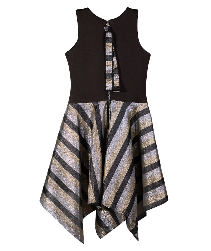 Zoe Ltd. Girls Black and Silver Stripe Dress