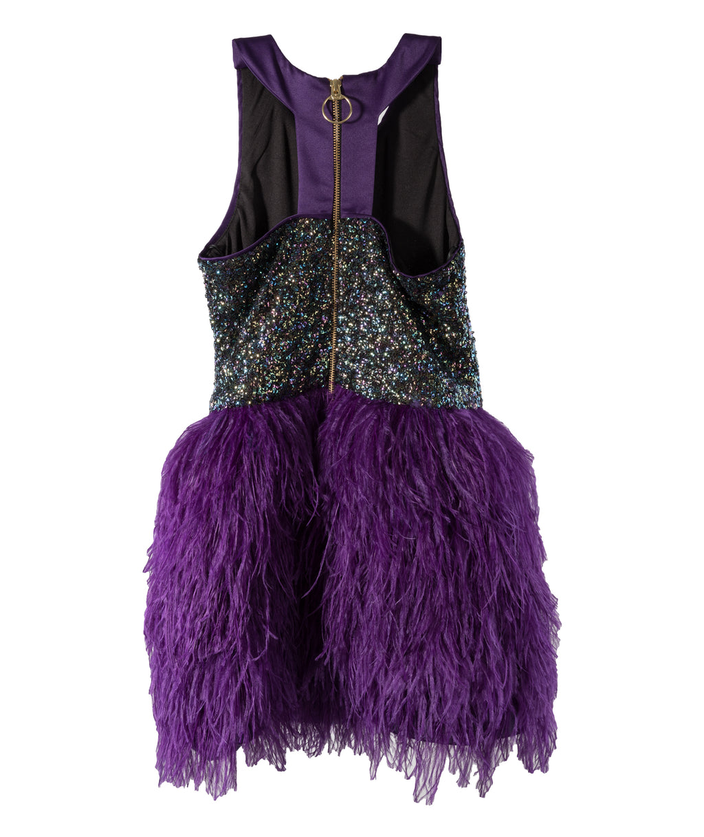 Zoe Ltd. Girls Purple Sequin Feather Dress