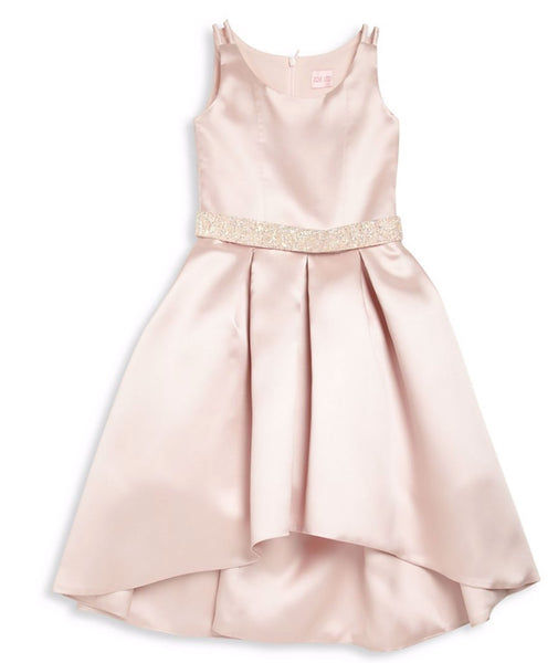 Zoe Ltd. Girls Cream Embellished Pleated Hi-Lo Dress