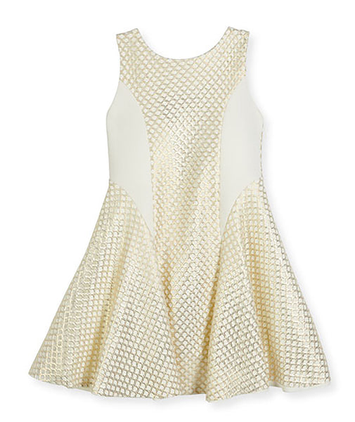 Zoe Ltd. Girls Lexie Sleeveless Netted Mesh Fit-and-Flare Dress