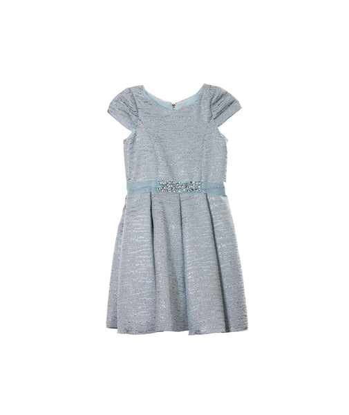 Zoe Ltd. Girls Sky Blue Brocade Swing Dress