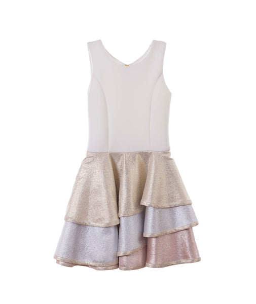 Zoe Ltd. Girls Metallic Tier Dress