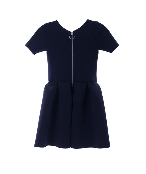 Zoe Ltd. Girls Navy Meg Short-Sleeve Pleated Scuba Dress