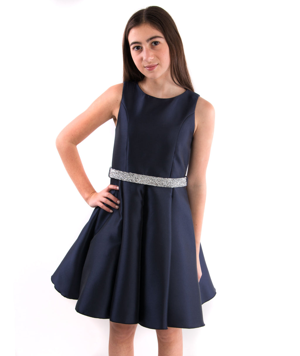 Zoe Ltd. Girls Navy Satin Dress with Crystal Belt - Frankie's on the Park