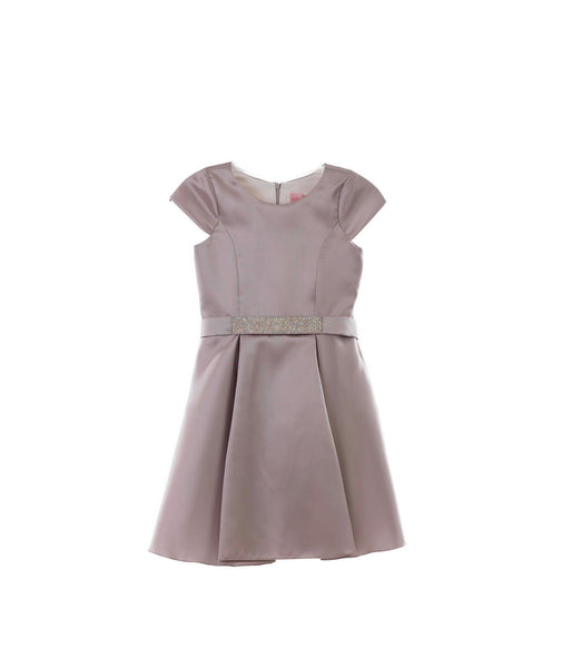 Zoe Ltd. Girls Taupe Cap Sleeve Dress