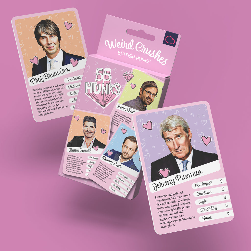 Weird Crushes - British Hunks packaging and game cards featuring Professor Brian Cox and Jeremy Paxman