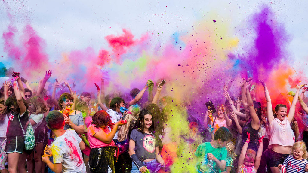 colourful party with powder paint