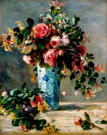 Roses and Jasmine in a Delft Vase - renoir
