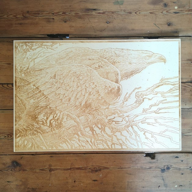 'THE EAGLE' NATURAL LASER ETCHED WOOD