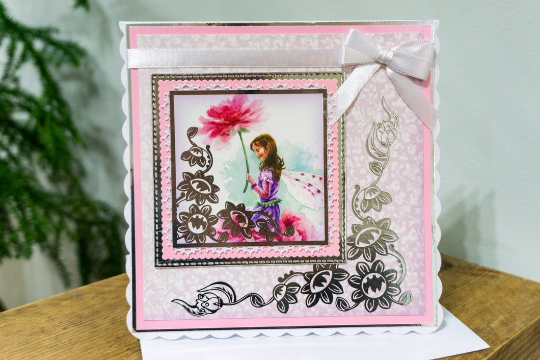 PINK FAIRY HANDMADE CARD