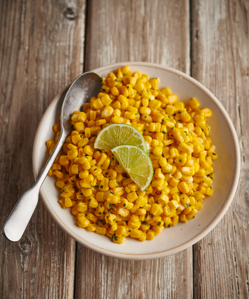 A creation made by Chef Michelle Trusselle, our delicious sweetcorn is sprinkled with a smoked salt and lime zest - mouthwatering!
