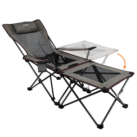 Xgear Folding Reclining Portable Chair with Cup Holder