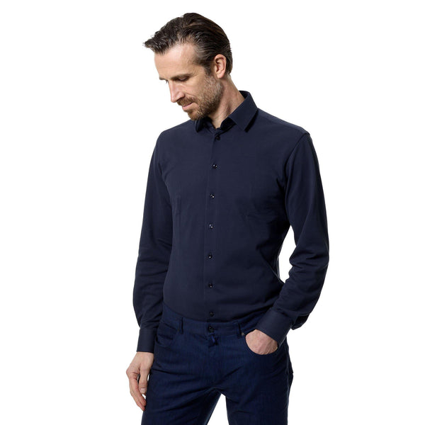 Pique performance navy tailored cotton shirt - Alexandra Wood