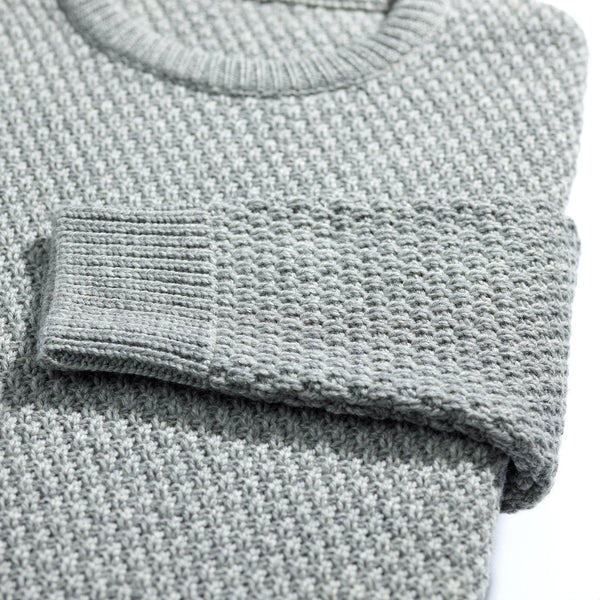 New York light grey moss stitch merino sweater - Alexandra Wood