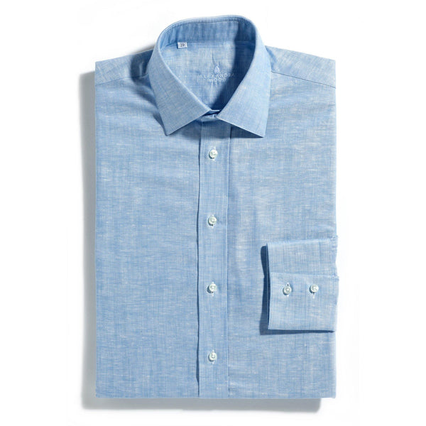 Barbados blue linen mix shirt - Alexandra Wood