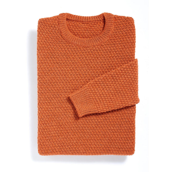 New York orange moss stitch merino sweater - Alexandra Wood