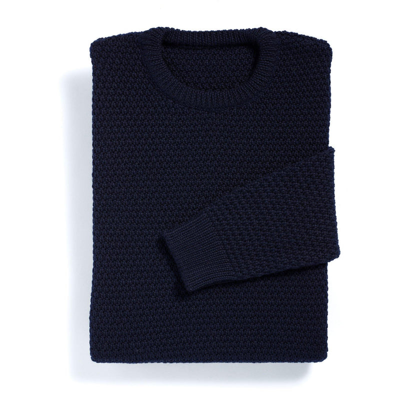New York navy moss stitch merino sweater - Alexandra Wood