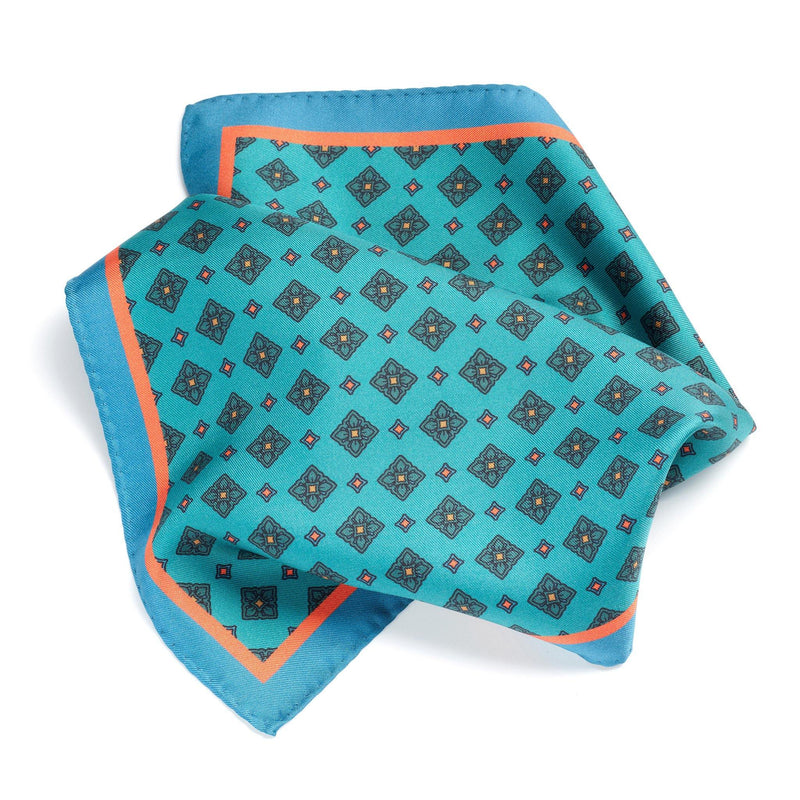 Sardinian Sea silk pocket square - Alexandra Wood