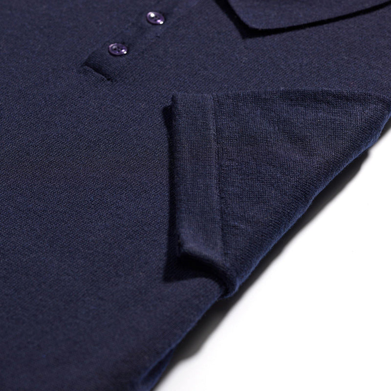 Weekend Vacation navy merino polo shirt - Alexandra Wood