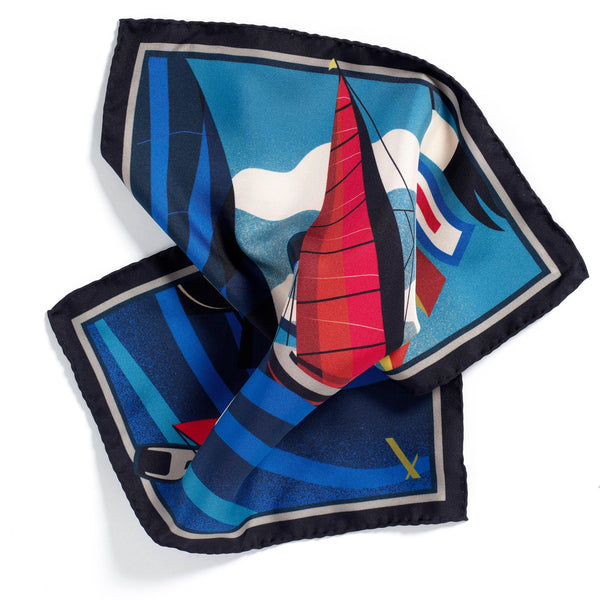 Yachters Paradise Limited Edition silk pocket square - Alexandra Wood