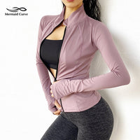 Mermaid Curve Autumn Winter New Running Jacket Women Stretch Tight Long Sleeve Thumb Hole Sports Jacket Gym Fitness Zipper Coat